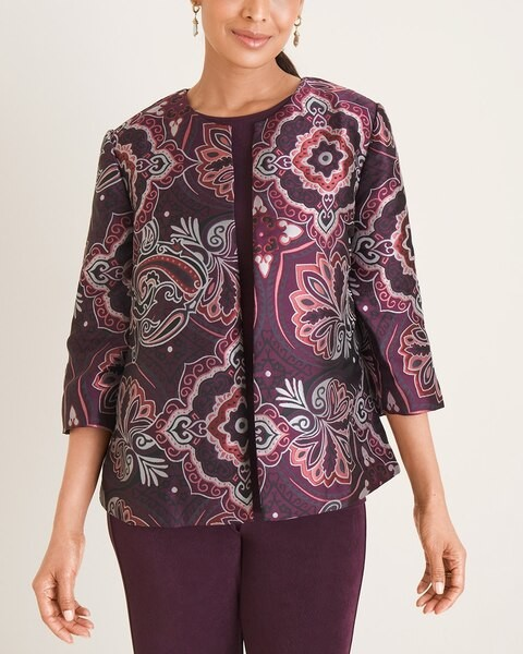 Thumbnail for your product : Travelers Collection Medallion-Print Jacquard Jacket