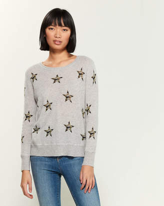 Qi Camo Star Long Sleeve Cashmere Sweater