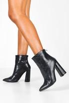 boohoo Snake Flared Heel Shoe Boots