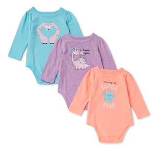 Garanimals Baby Girl Long Sleeve Graphic Bodysuits, 3pk