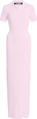 Jacquemus Ribbed-Knit Polo Maxi Dress