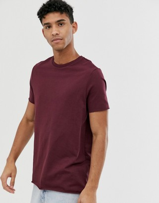 Asos DESIGN organic heavyweight t-shirt with crew neck and raw edges in red