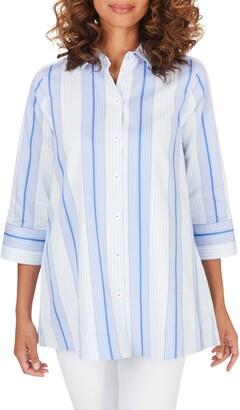 Foxcroft Lila Stripe Stretch Cotton Blend Tunic Top