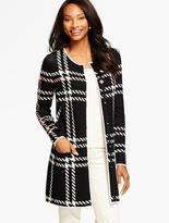 Talbots Herringbone Plaid Sweater Coat