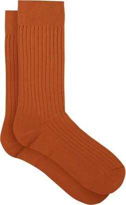 Pantherella Danvers Rib-knit Socks - Orange