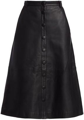 REMAIN Birger Christensen Bellis Midi Leather Skirt