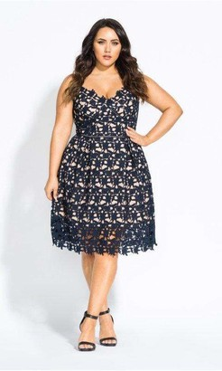 City Chic Navy So Fancy Crochet Fit & Flare Dress in Navy Blue Size 16/Small Polyester