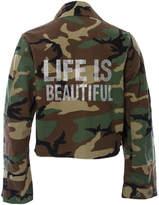HIPCHIK Life is Beautiful Cropped Camo Jacket