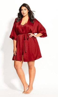 City Chic Chemise And Robe Set - red