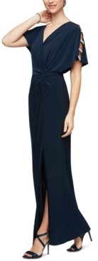 Alex Evenings Embellished-Sleeve Jersey Gown