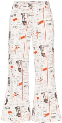Miaou Soni newsprint flared jeans