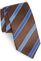 David Donahue Men's Stripe Textured Silk Tie