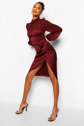 boohoo Satin Contrast Cup Detail Midi Dress