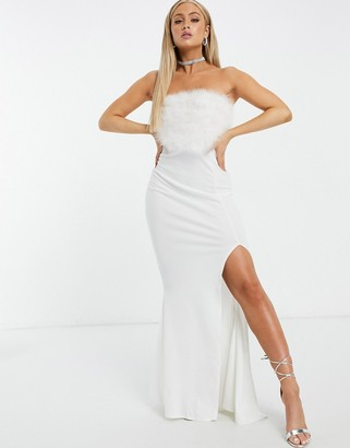 I SAW IT FIRST faux-feather top bandeau maxi dress in white