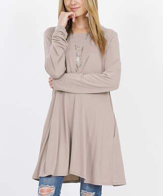 Ash Lydiane Women's Tunics  Mocha Crewneck Long-Sleeve Straight-Hem Pocket Tunic - Women & Plus