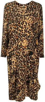 Yves Saint Laurent Pre-Owned Leopard Camouflage Print Long-Sleeved Dress