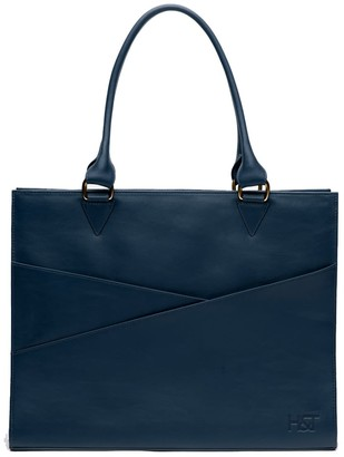 Holly & Tanager Confidante Structured Leather Tote In Navy