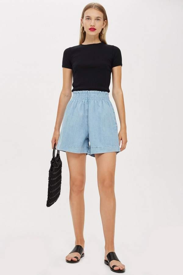 Lightweight Paper Bag Denim Shorts