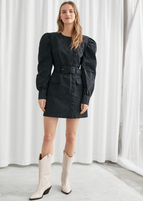 And other stories Belted Organic Cotton Twill Mini Dress