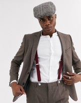 Shelby & Sons slim suit jacket in brown