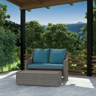 Coyne Patio 2 Piece Sofa Seating Group with Cushions Highland Dunes