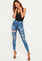 Missguided Blue High Waisted Ripped Jeggings