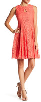 Gabby Skye Keyhole Neck Lace Fit & Flare Dress