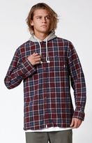 Vans Lopes Hooded Plaid Flannel Long Sleeve Button Up Shirt