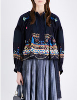 Sacai Embroidered woven top