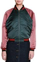 Tomas Maier Colorblock Zip-Front Bomber Jacket, Sage/Raspberry