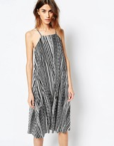 Warehouse Monochrome Pleated Cami Dress