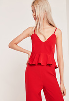 Missguided Petite Strappy Peplum Top Red