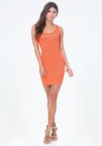 Bebe Logo Solid V-Strap Dress