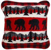"""Monterey Mills Denali Bear Plaid Border/Black Microplush Pillow, 18""""x18"""""""