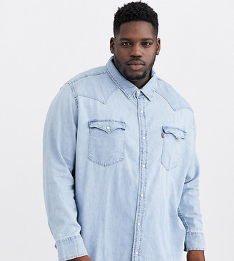 Levi's Big & Tall classic western long sleeve shirt in stone wash