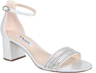 Nina Block Heel With Crystal Strap Sandals - Elenora