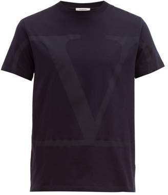 Valentino V-logo Print Cotton T-shirt - Mens - Navy