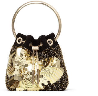Jimmy Choo BON BON Black Suede Bag with Flower Sequin Embroidery