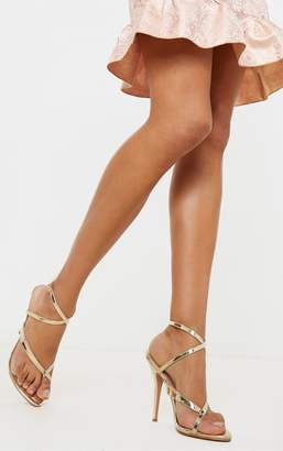 PrettyLittleThing Gold Patent Low Heel Toe Thong Ankle Strap Sandal