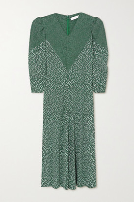 See by Chloe Paneled Printed Crepe Maxi Dress - Green