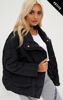 PrettyLittleThing Petite Black Cropped Puffer Jacket with Front Pockets