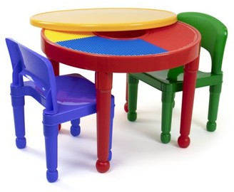 Tot Tutors Kids 2-in-1 Plastic LEGO-Compatible Activity Table and 2 Chairs Set