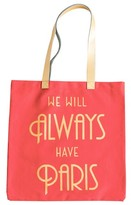 Rosanna We Will Always Have Paris Canvas Tote - Coral