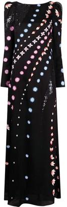 Temperley London Sequin-Embellished Floral-Print Dress
