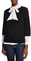 Frame Open-Stitch Sweater Tee, Black