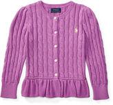 Ralph Lauren 2-6X Cable Cotton Peplum Cardigan