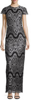 Catherine Deane Short-Sleeve Metallic Lace Column Gown, Black/Silver