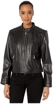 Lauren Ralph Lauren Petite Zip Front Diamond Quilt Leather Jacket (Black) Women's Coat