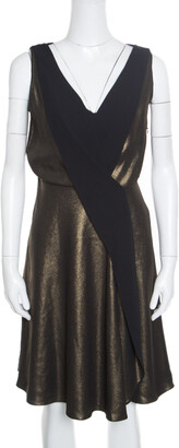 Temperley London Old Gold and Black Sleeveless V-neck Edom Lame Dress M