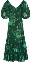 Anna Sui Ruffled Fil Coupé Silk-blend Chiffon Midi Dress